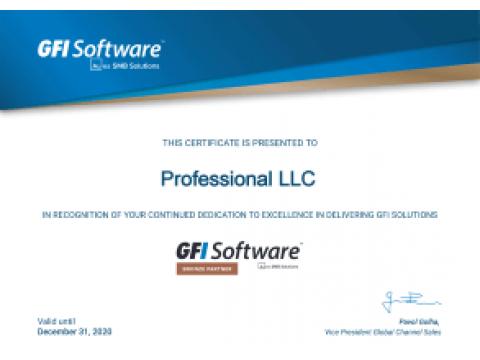Новый партнерский статус: GFI Software Bronze partner 2020