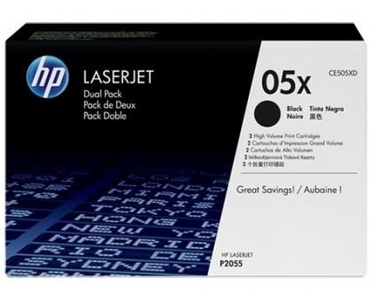 Двойная упаковка картриджа HP CE505X для LJ P2055, повышенная емкость (CE505XD)