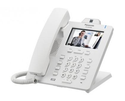 """Видеотелефон Panasonic с проводной трубкой и высококачественной передачей голоса, цветной сенсорный ЖКД 4.3"""" с подсветкой, 2 порта Ethernet (10/100/1000), поддержка кодеков G.722 / G.711 / G.726 (32 k) / G.729A, 24 клавиши (3 страницы по 8), встроенн"""