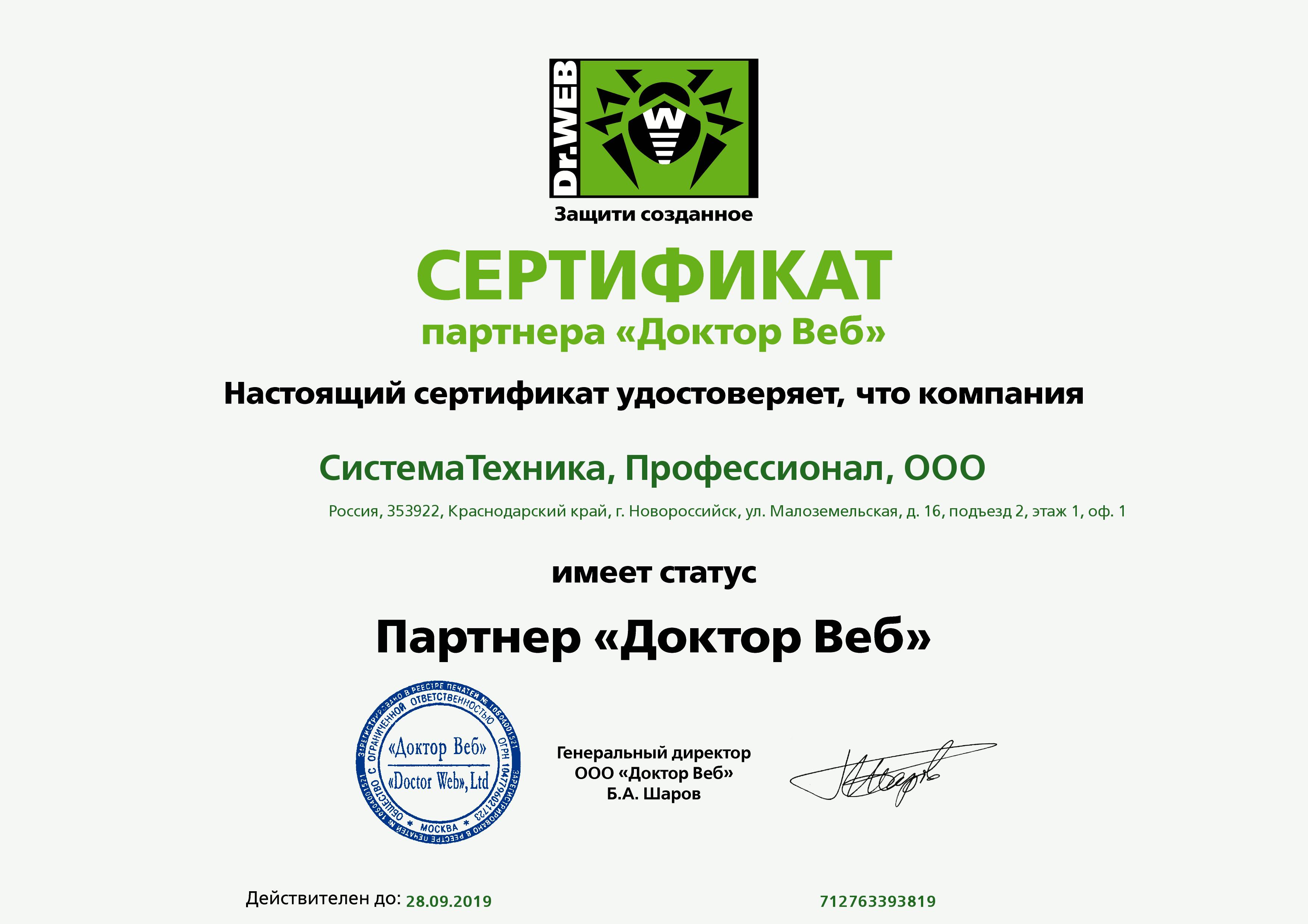"""Партнерский сертификат DrWEB ООО """"Профессионал"""" на 2018-2019 годы."""